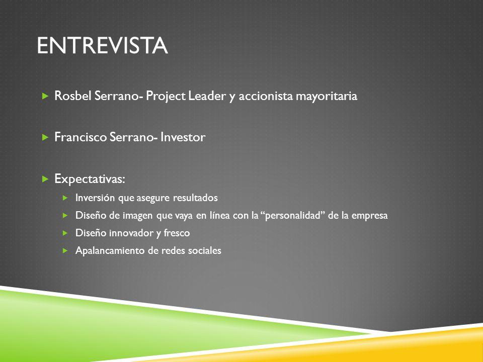 ENTREVISTA Rosbel Serrano- Project Leader y accionista mayoritaria Francisco Serrano- Investor Expectativas: Inversión que asegure resultados Diseño d