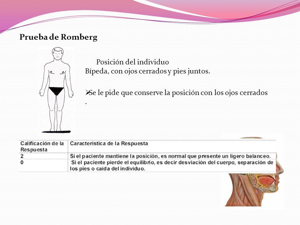 Prueba de Romberg Posición del individuo Bípeda, con ojos cerrados y pies juntos.