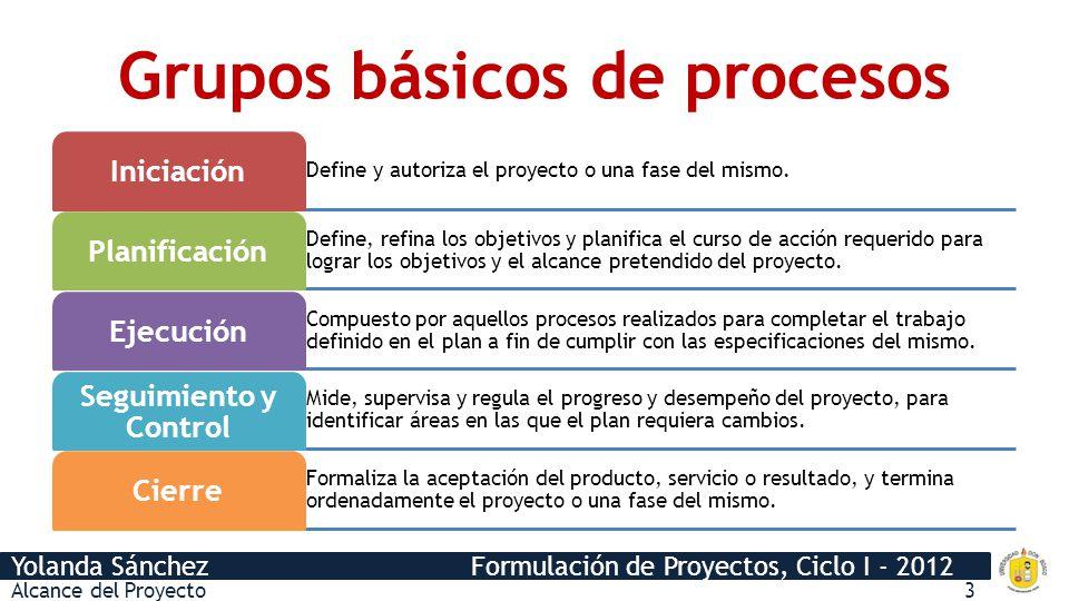 Yolanda Sánchez Formulación de Proyectos, Ciclo I - 2012 Grupos básicos de procesos Alcance del Proyecto3 Define y autoriza el proyecto o una fase del