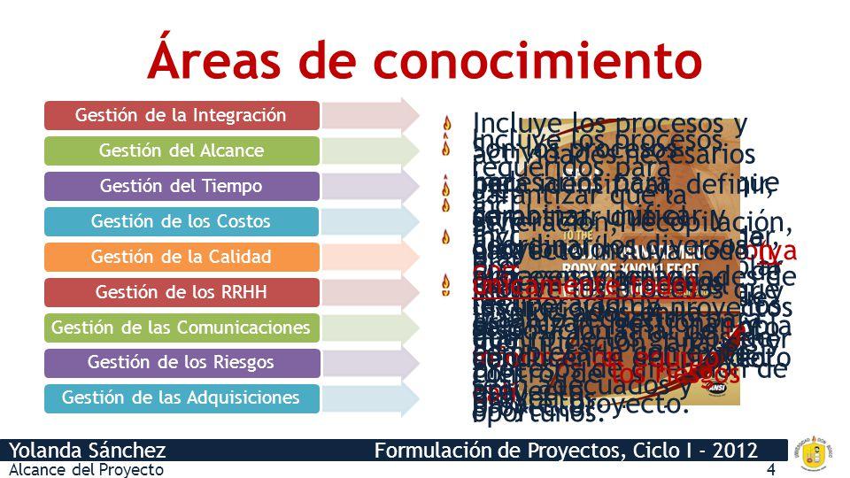 Yolanda Sánchez Formulación de Proyectos, Ciclo I - 2012 Incluye los procesos que se utilizan para garantizar la conclusión a tiempo del proyecto. Inc