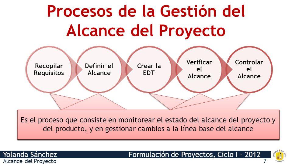Yolanda Sánchez Formulación de Proyectos, Ciclo I - 2012 Procesos de la Gestión del Alcance del Proyecto Controlar el Alcance Verificar el Alcance Cre