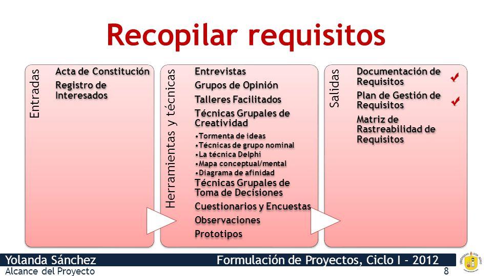 Yolanda Sánchez Formulación de Proyectos, Ciclo I - 2012 Recopilar requisitos Entradas Acta de Constitución Registro de Interesados Herramientas y téc