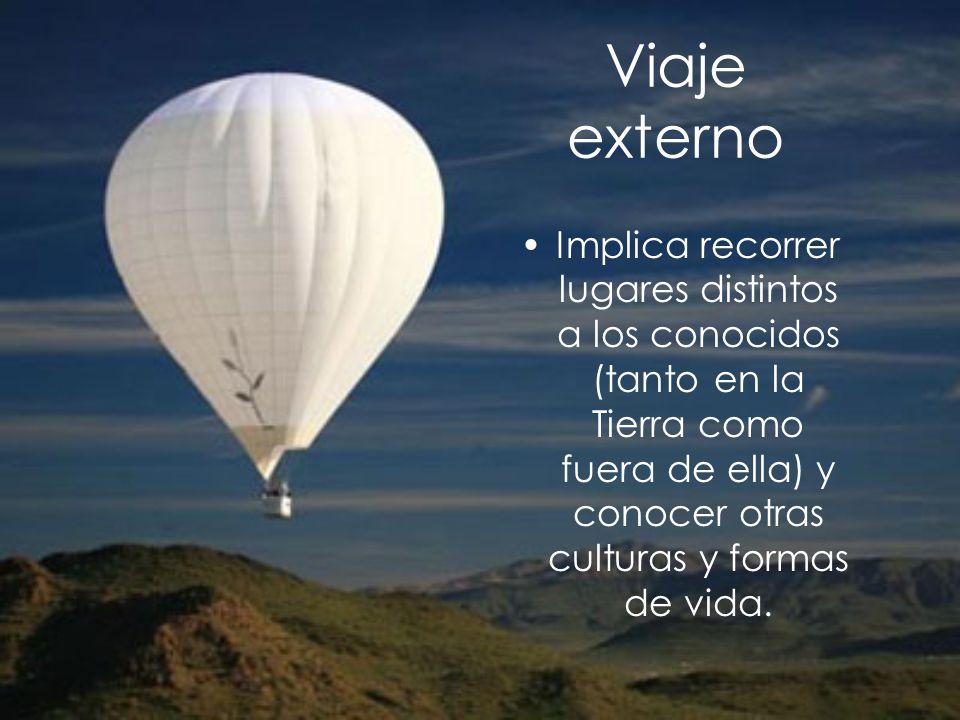 Viaje externo Implica recorrer lugares distintos a los conocidos (tanto en la Tierra como fuera de ella) y conocer otras culturas y formas de vida.