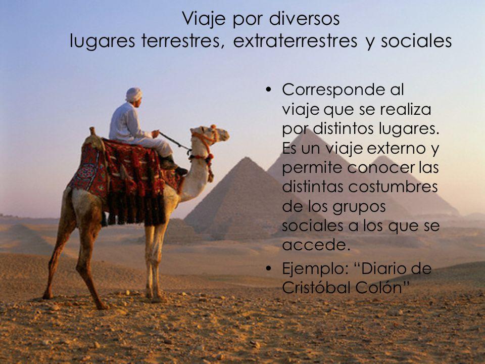 Viaje por diversos lugares terrestres, extraterrestres y sociales Corresponde al viaje que se realiza por distintos lugares. Es un viaje externo y per