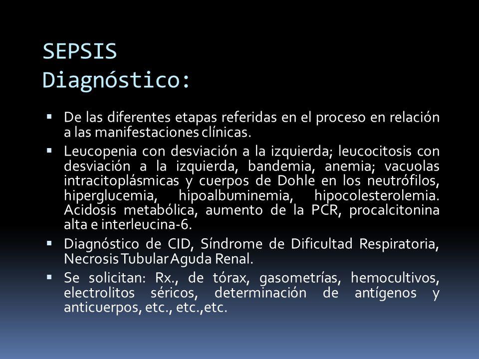 SEPSIS Diagnóstico: De las diferentes etapas referidas en el proceso en relación a las manifestaciones clínicas.