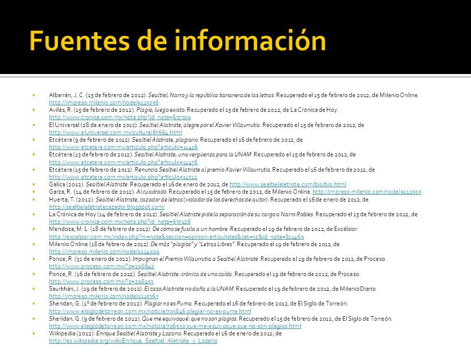 Albarrán, J. C. (15 de febrero de 2012). Sealtiel, Narro y la república bananera de las letras. Recuperado el 15 de febrero de 2012, de Milenio Online