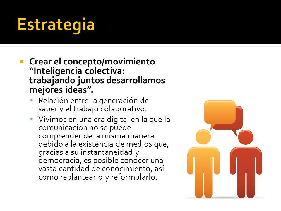 Crear el concepto/movimiento Inteligencia colectiva: trabajando juntos desarrollamos mejores ideas. Relación entre la generación del saber y el trabaj