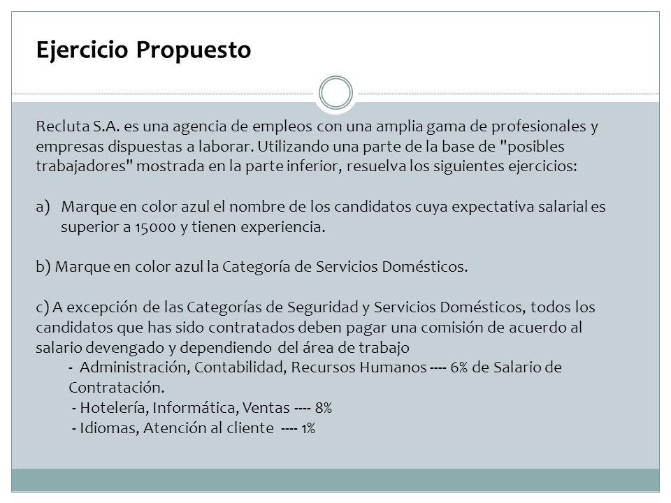 Ejercicio Propuesto Recluta S.A. es una agencia de empleos con una amplia gama de profesionales y empresas dispuestas a laborar. Utilizando una parte