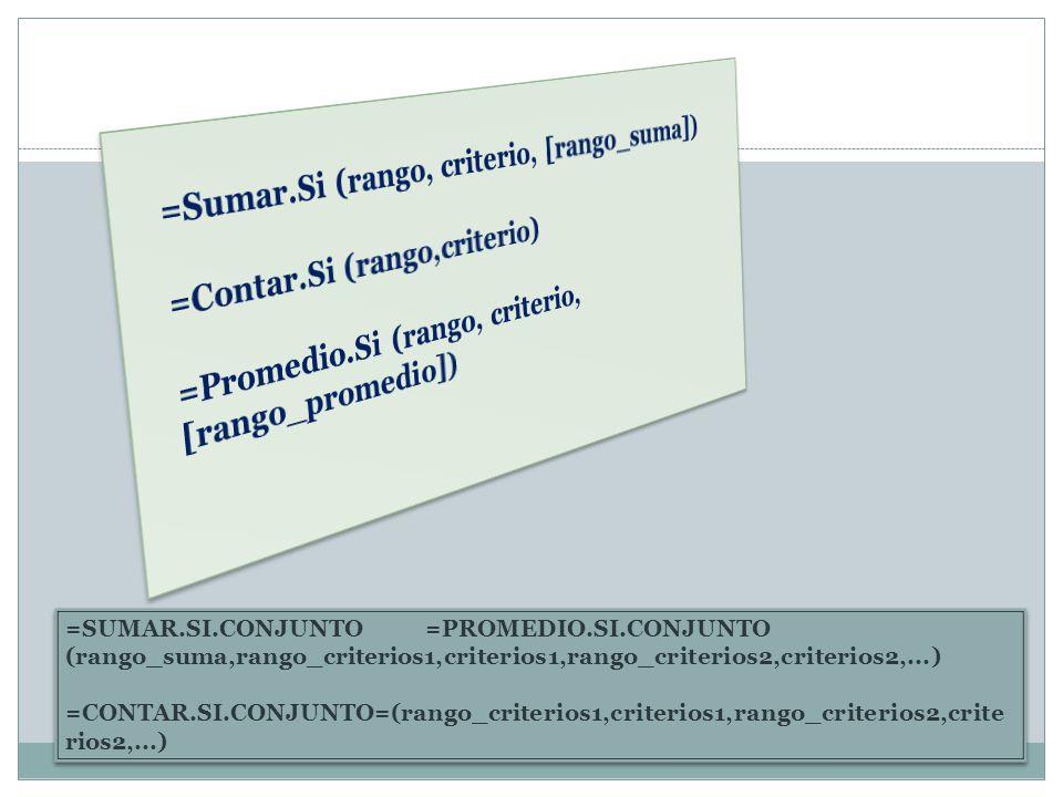 =SUMAR.SI.CONJUNTO =PROMEDIO.SI.CONJUNTO (rango_suma,rango_criterios1,criterios1,rango_criterios2,criterios2,...) =CONTAR.SI.CONJUNTO=(rango_criterios
