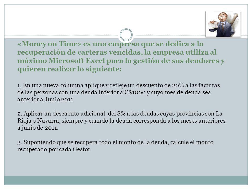 «Money on Time» es una empresa que se dedica a la recuperación de carteras vencidas, la empresa utiliza al máximo Microsoft Excel para la gestión de s