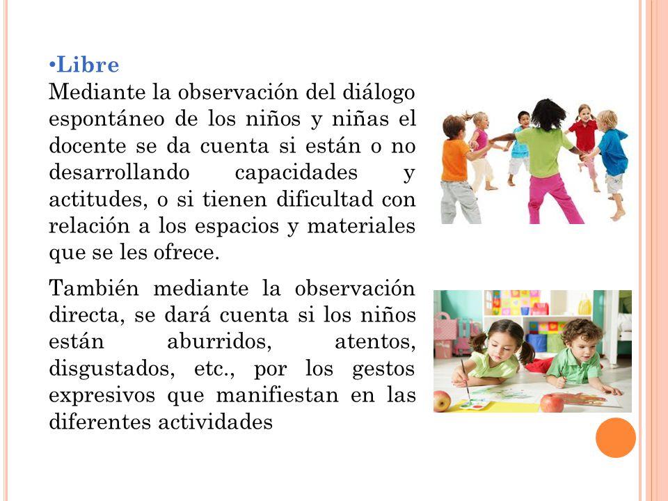 Libre Mediante la observación del diálogo espontáneo de los niños y niñas el docente se da cuenta si están o no desarrollando capacidades y actitudes, o si tienen dificultad con relación a los espacios y materiales que se les ofrece.