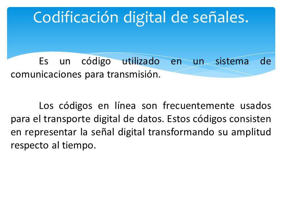 Es un código utilizado en un sistema de comunicaciones para transmisión.