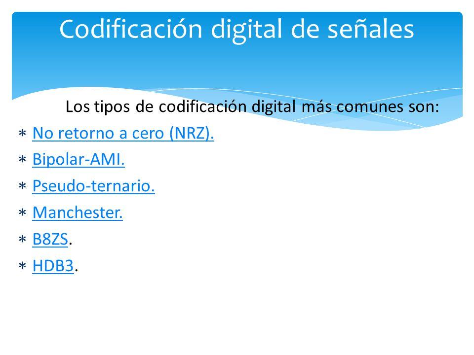 Los tipos de codificación digital más comunes son: No retorno a cero (NRZ).