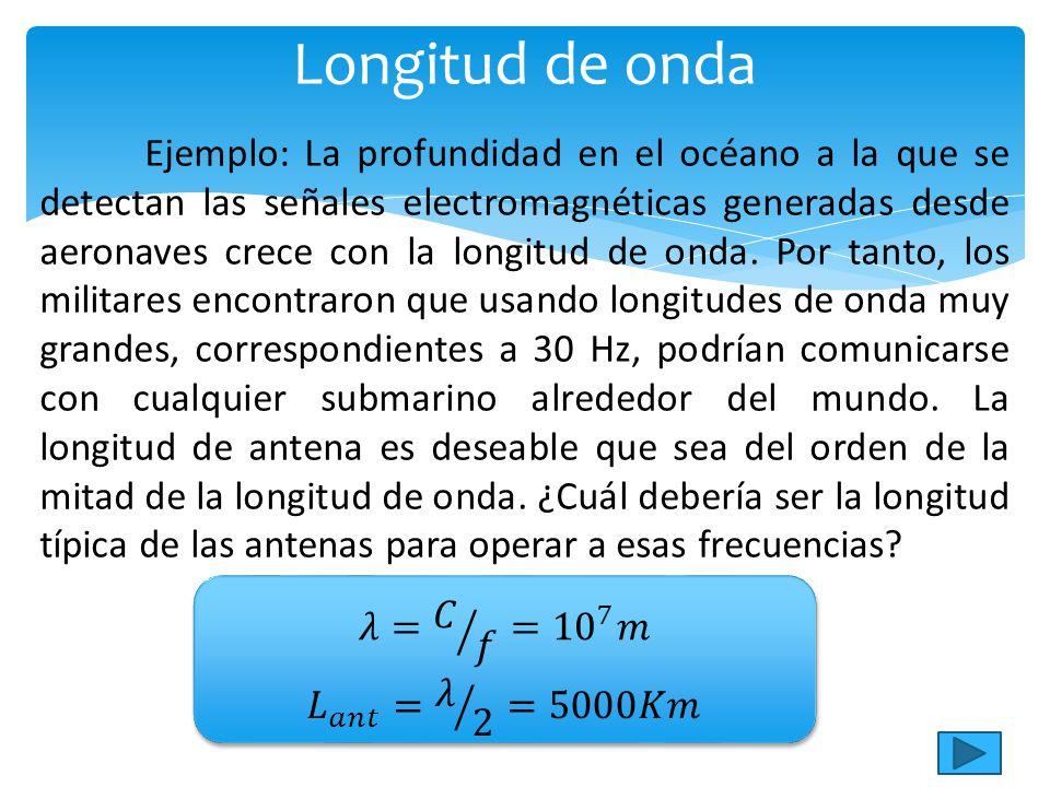 Ejemplo: La profundidad en el océano a la que se detectan las señales electromagnéticas generadas desde aeronaves crece con la longitud de onda.