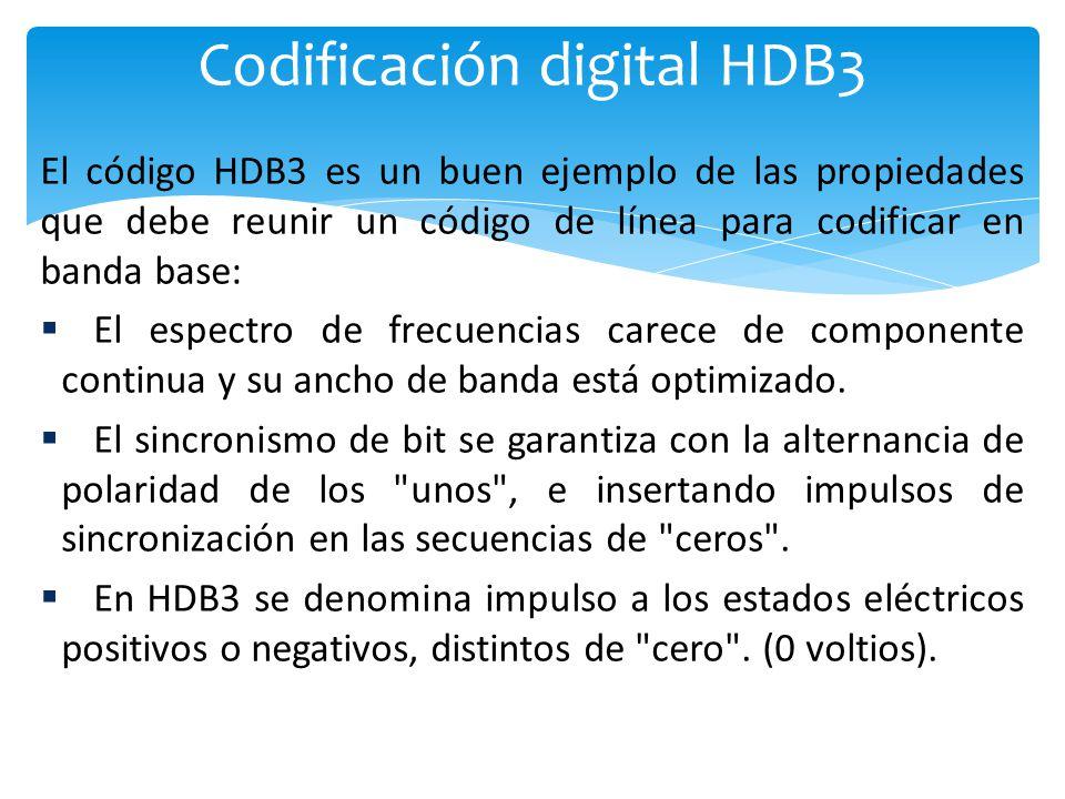 Codificación digital HDB3 El código HDB3 es un buen ejemplo de las propiedades que debe reunir un código de línea para codificar en banda base: El espectro de frecuencias carece de componente continua y su ancho de banda está optimizado.