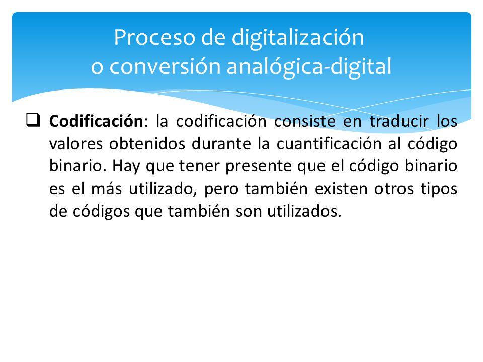 Codificación: la codificación consiste en traducir los valores obtenidos durante la cuantificación al código binario.