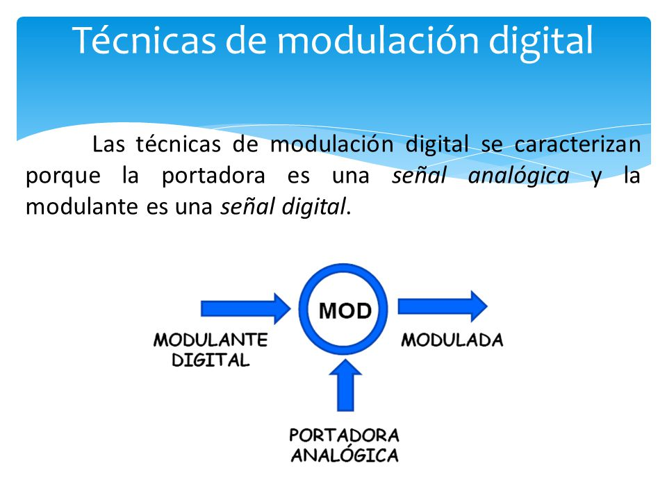 Las técnicas de modulación digital se caracterizan porque la portadora es una señal analógica y la modulante es una señal digital.