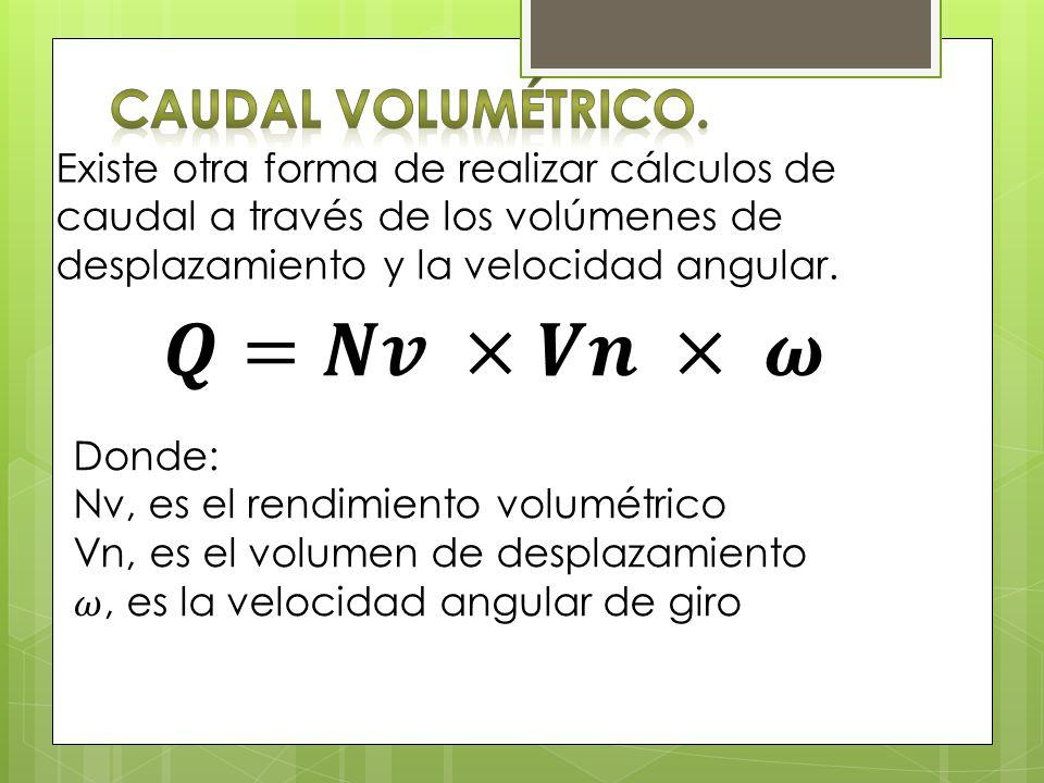 Existe otra forma de realizar cálculos de caudal a través de los volúmenes de desplazamiento y la velocidad angular.