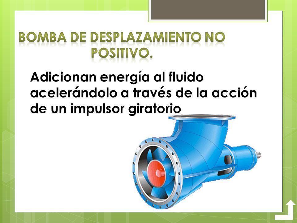 Adicionan energía al fluido acelerándolo a través de la acción de un impulsor giratorio