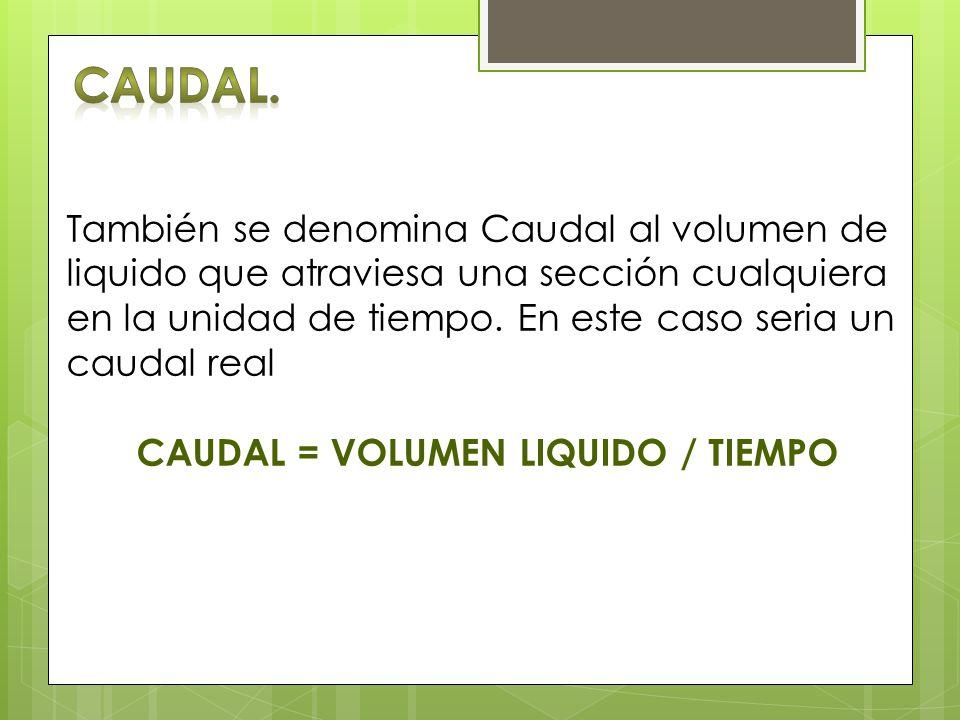 También se denomina Caudal al volumen de liquido que atraviesa una sección cualquiera en la unidad de tiempo. En este caso seria un caudal real CAUDAL