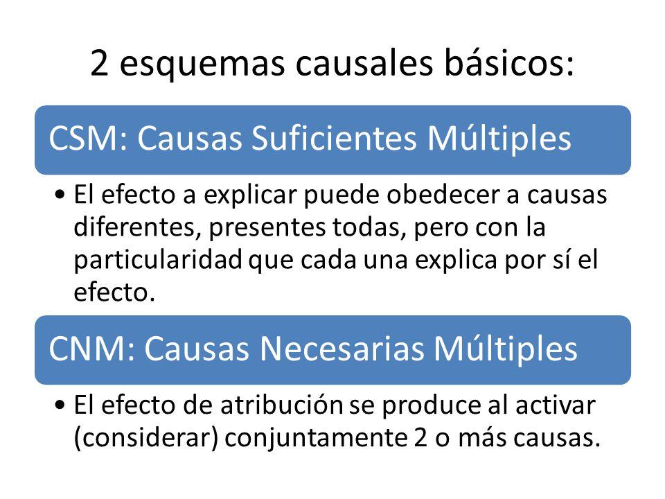 2 esquemas causales básicos: CSM: Causas Suficientes Múltiples El efecto a explicar puede obedecer a causas diferentes, presentes todas, pero con la p