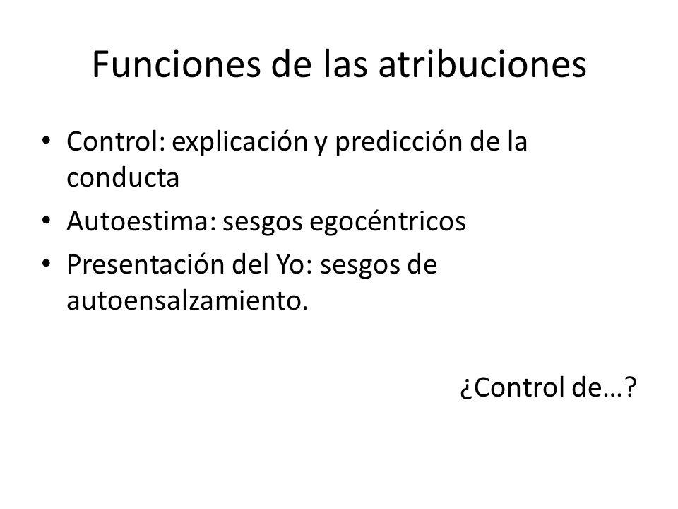 Funciones de las atribuciones Control: explicación y predicción de la conducta Autoestima: sesgos egocéntricos Presentación del Yo: sesgos de autoensa