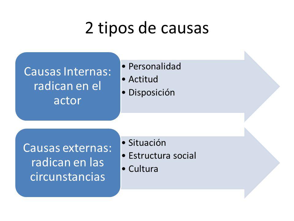2 tipos de causas Personalidad Actitud Disposición Causas Internas: radican en el actor Situación Estructura social Cultura Causas externas: radican e