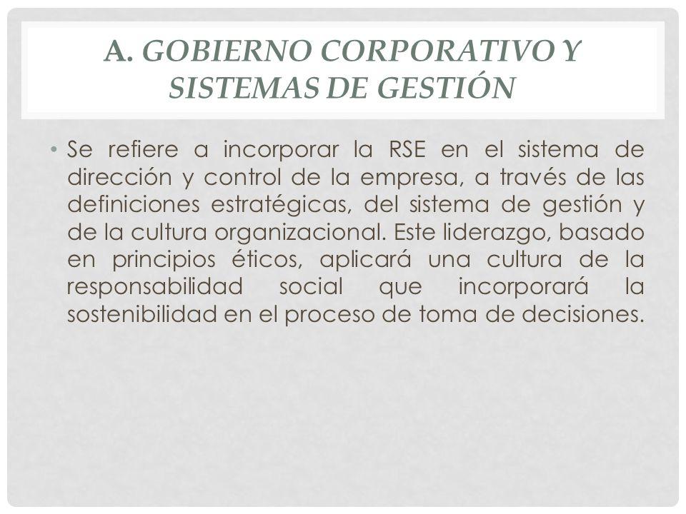 A. GOBIERNO CORPORATIVO Y SISTEMAS DE GESTIÓN Se refiere a incorporar la RSE en el sistema de dirección y control de la empresa, a través de las defin