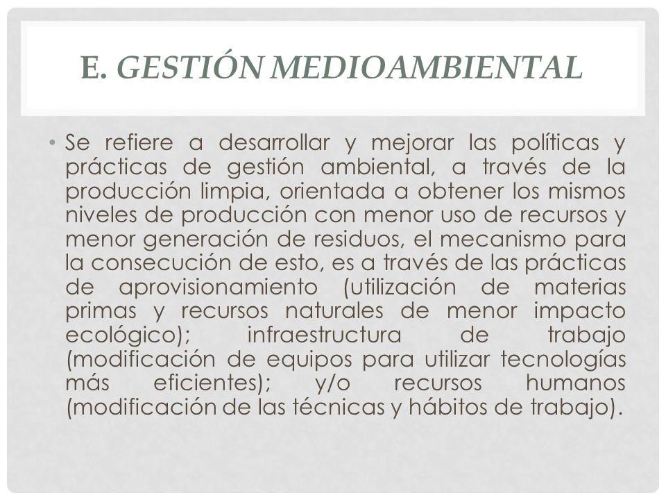 E. GESTIÓN MEDIOAMBIENTAL Se refiere a desarrollar y mejorar las políticas y prácticas de gestión ambiental, a través de la producción limpia, orienta