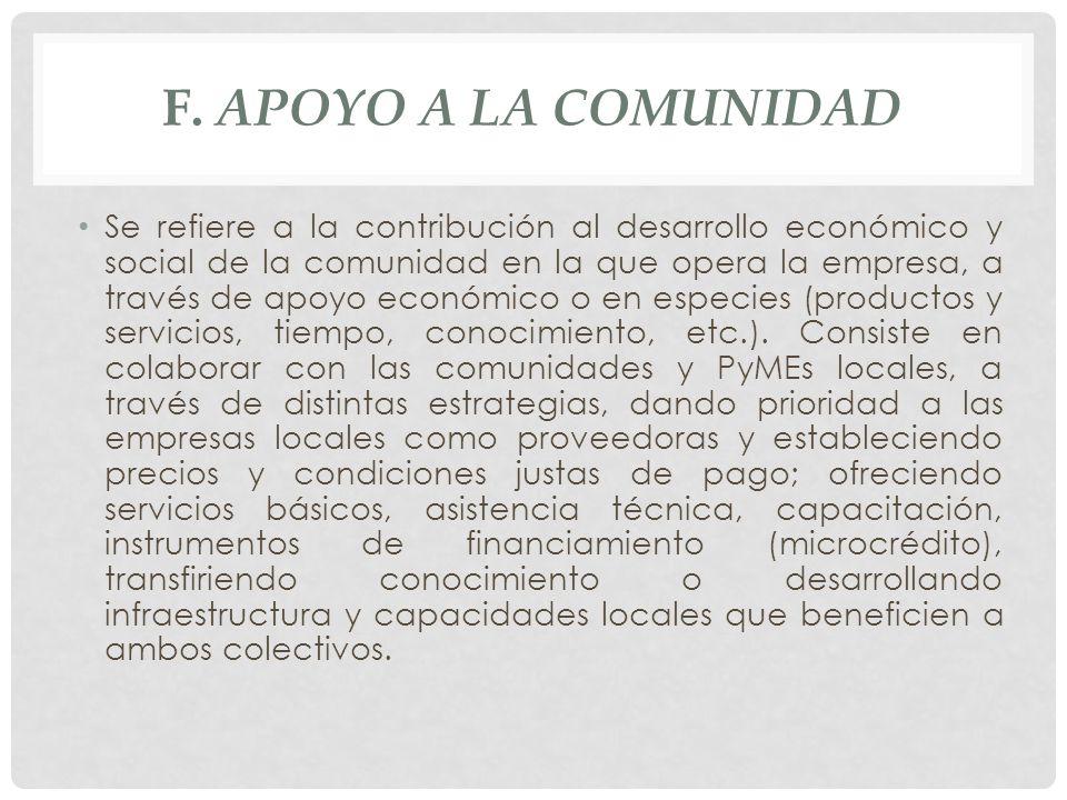 F. APOYO A LA COMUNIDAD Se refiere a la contribución al desarrollo económico y social de la comunidad en la que opera la empresa, a través de apoyo ec