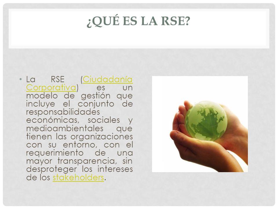 ¿QUÉ ES LA RSE? La RSE (Ciudadanía Corporativa) es un modelo de gestión que incluye el conjunto de responsabilidades económicas, sociales y medioambie