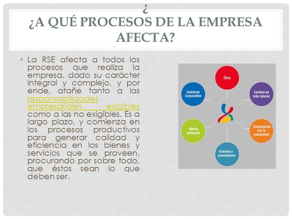 ¿ ¿A QUÉ PROCESOS DE LA EMPRESA AFECTA? La RSE afecta a todos los procesos que realiza la empresa, dado su carácter integral y complejo, y por ende, a