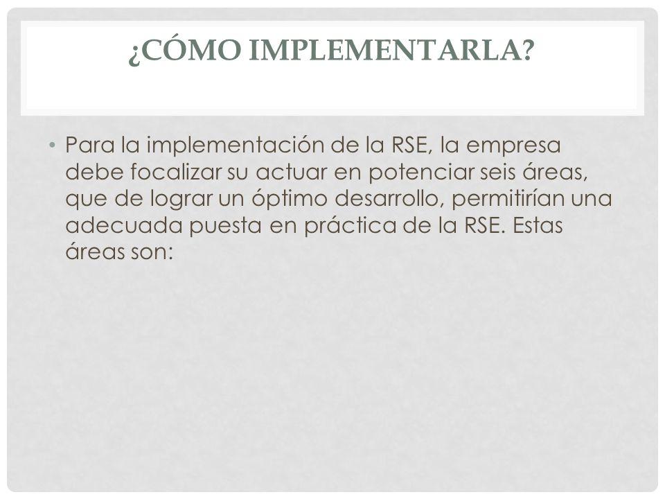 ¿CÓMO IMPLEMENTARLA? Para la implementación de la RSE, la empresa debe focalizar su actuar en potenciar seis áreas, que de lograr un óptimo desarrollo