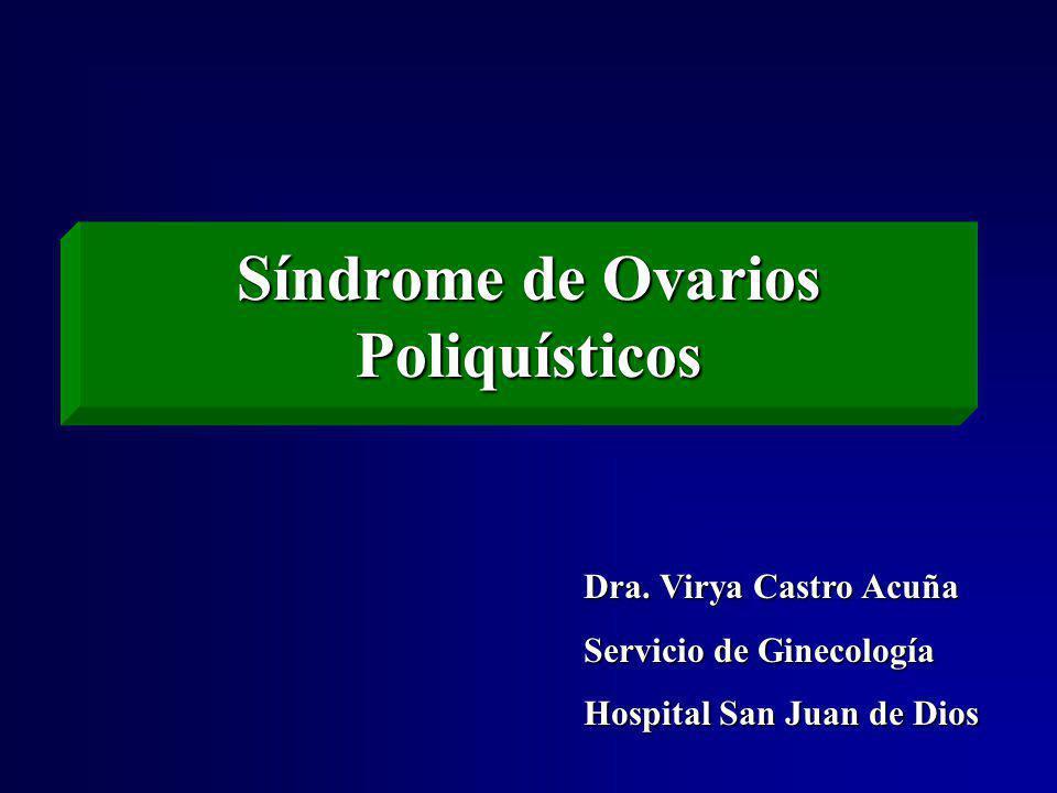 Factor de Riesgo Valor Obesidad Abdominal (cintura) Mayor a 88 cm Triglicéridos 150 mg/dL 150 mg/dL HDL-C Menor a 50 mg/dL Presión arterial 130/ 85 130/ 85 Glicemia en ayuno y curva de tolerancia 110-126 mg/dL y/o 140-199 mg/dL 2 hrs poscarga Criterios diagnósticos para el síndrome metabólico en mujeres con el Síndrome de Ovarios Poliquísticos (3 de 5) Fertil Steril 2004;81:19-25