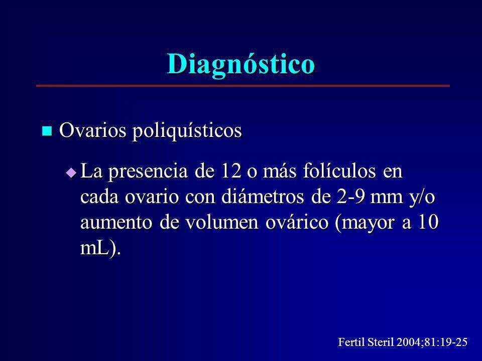 Diagnóstico Ovarios poliquísticos Ovarios poliquísticos La presencia de 12 o más folículos en cada ovario con diámetros de 2-9 mm y/o aumento de volum