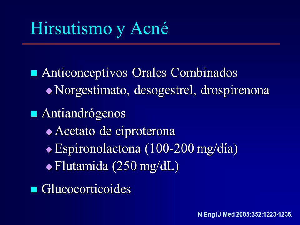 Hirsutismo y Acné Anticonceptivos Orales Combinados Anticonceptivos Orales Combinados Norgestimato, desogestrel, drospirenona Norgestimato, desogestre