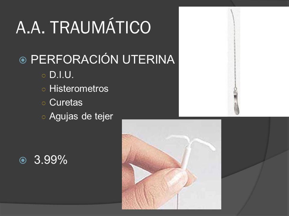 A.A. TRAUMÁTICO PERFORACIÓN UTERINA D.I.U. Histerometros Curetas Agujas de tejer 3.99%
