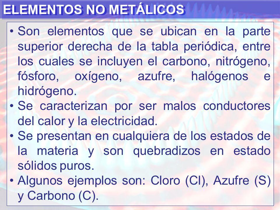 ELEMENTOS NO METÁLICOS Son elementos que se ubican en la parte superior derecha de la tabla periódica, entre los cuales se incluyen el carbono, nitrógeno, fósforo, oxígeno, azufre, halógenos e hidrógeno.