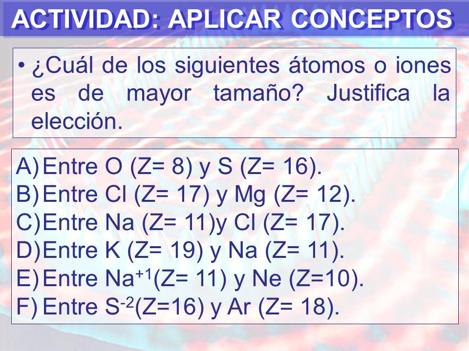 ACTIVIDAD: APLICAR CONCEPTOS ¿Cuál de los siguientes átomos o iones es de mayor tamaño.