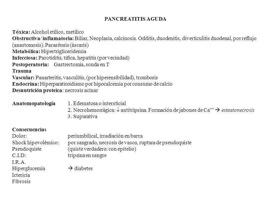 PANCREATITIS AGUDA Tóxica: Alcohol etílico, metílico Obstructiva/ inflamatoria: Biliar, Neoplasia, calcinosis.