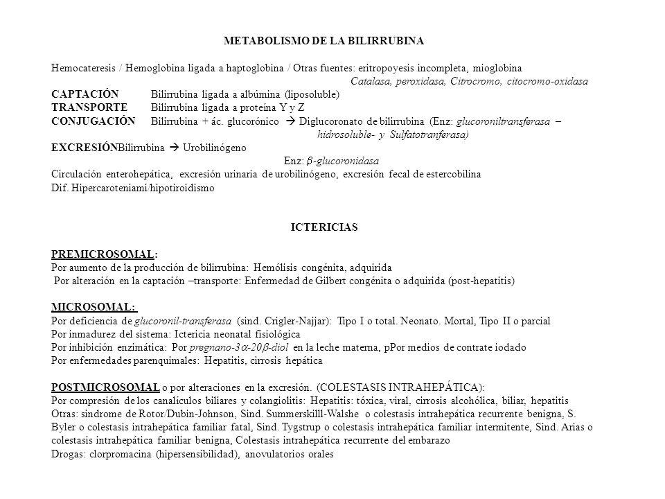 METABOLISMO DE LA BILIRRUBINA Hemocateresis / Hemoglobina ligada a haptoglobina / Otras fuentes: eritropoyesis incompleta, mioglobina Catalasa, peroxidasa, Citrocromo, citocromo-oxidasa CAPTACIÓN Bilirrubina ligada a albúmina (liposoluble) TRANSPORTE Bilirrubina ligada a proteína Y y Z CONJUGACIÓNBilirrubina + ác.