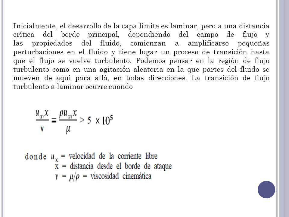 Inicialmente, el desarrollo de la capa límite es laminar, pero a una distancia crítica del borde principal, dependiendo del campo de flujo y las propi
