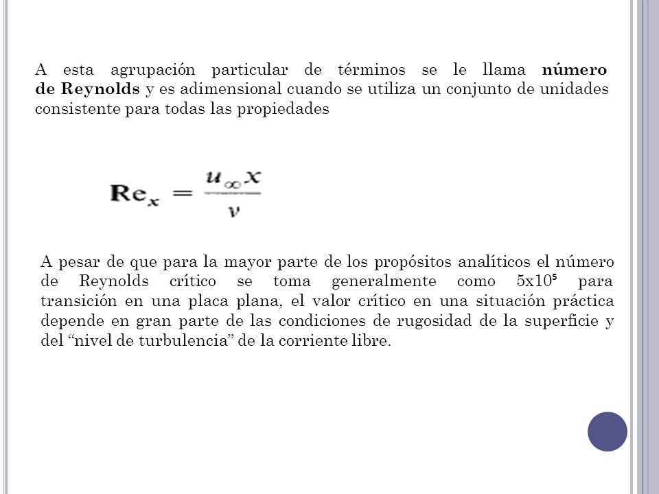 A esta agrupación particular de términos se le llama número de Reynolds y es adimensional cuando se utiliza un conjunto de unidades consistente para t