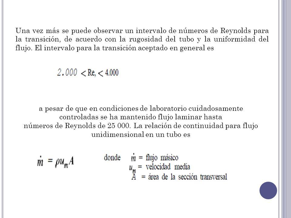 Una vez más se puede observar un intervalo de números de Reynolds para la transición, de acuerdo con la rugosidad del tubo y la uniformidad del flujo.