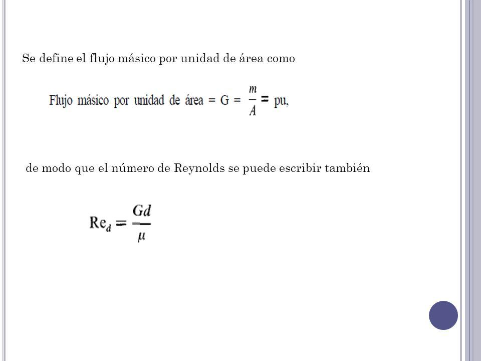 Se define el flujo másico por unidad de área como de modo que el número de Reynolds se puede escribir también