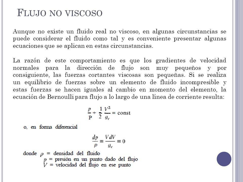 Aunque no existe un fluido real no viscoso, en algunas circunstancias se puede considerar el fluido como tal y es conveniente presentar algunas ecuaci