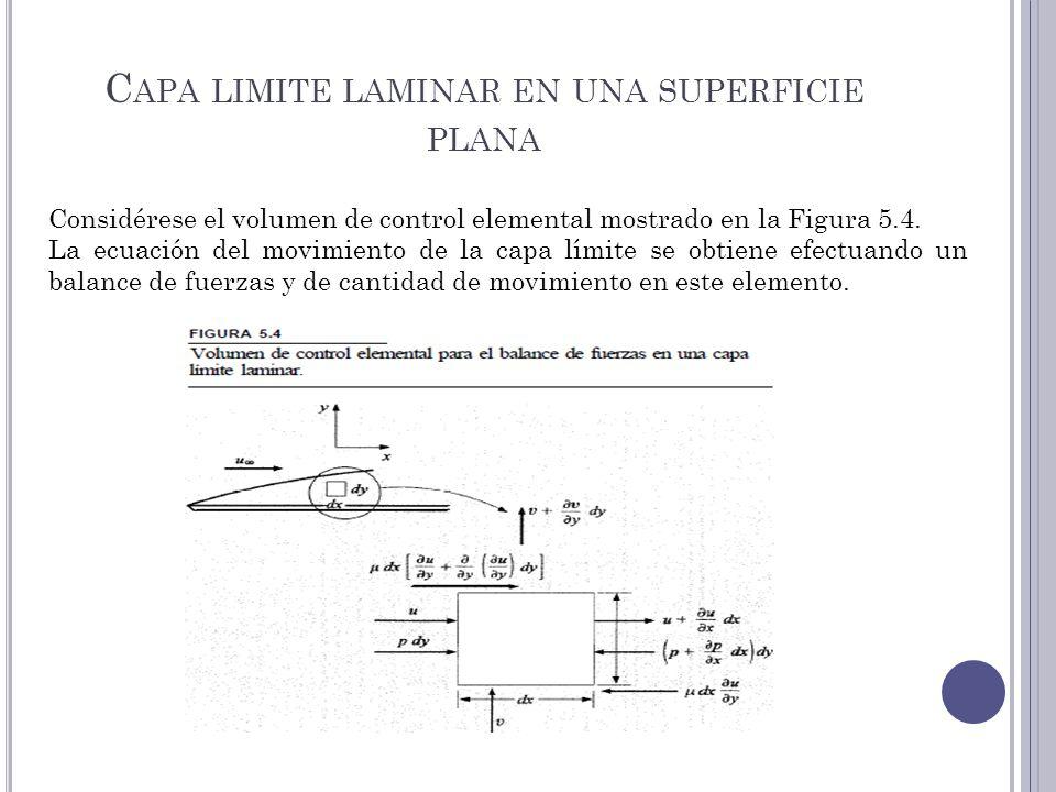 C APA LIMITE LAMINAR EN UNA SUPERFICIE PLANA Considérese el volumen de control elemental mostrado en la Figura 5.4. La ecuación del movimiento de la c