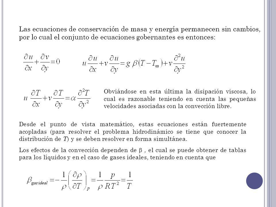 Las ecuaciones de conservación de masa y energía permanecen sin cambios, por lo cual el conjunto de ecuaciones gobernantes es entonces: Obviándose en