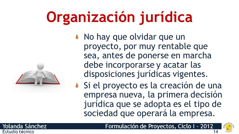Yolanda Sánchez Formulación de Proyectos, Ciclo I - 2012 Constitución Código Civil Código de Trabajo Código de Salud Ley del ISSS LACAP Ley del CONACYT NSO y NSR Estudio técnico15