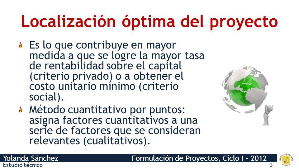 Yolanda Sánchez Formulación de Proyectos, Ciclo I - 2012 Tamaño óptimo del proyecto Es su capacidad instalada y se expresa en unidades de producción por año.